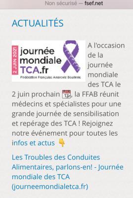 La FSEF soutient la journée mondiale des TCA