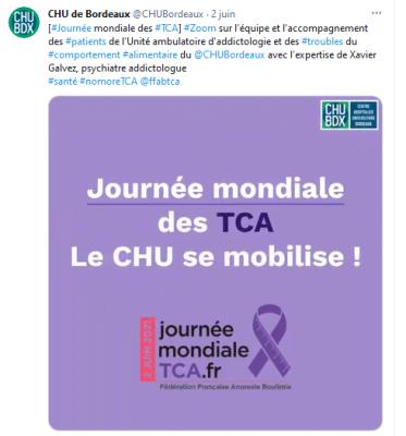 Le CHU de Bordeaux parle TCA sur le compte Tik Tok de Curieux! et sur le compte Twitter du CHU